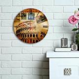 Ceas decorativ de perete din lemn Home Art, 238HMA6100, 30 cm, Multicolor