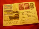 Carte Postala ilustrata -Delta Dunarii , circulat 1958 cu 5 vignete Centenarul