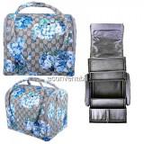 Geanta Cosmetice si produse Manichiura Motiv Floral Albastru 2700F
