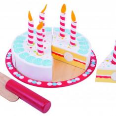 Tort aniversar, piesele au un design special, prindere cu scai intre felii, Bigjigs