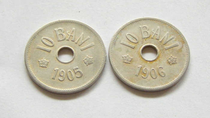 t038 SET PERECHE MONEDE 10 BANI 1905 SI 1906 CIRCULATE FRUMOASE