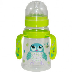 Biberon cu Doua Manere si Gat Larg Baby Care 250 ml Green Owl