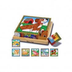 Puzzle lemn animalele de casa Melissa & Doug, 16 cuburi, 3 ani+