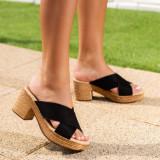 Papuci Sanasi negre cu platforma