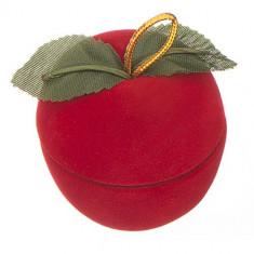 Cutie din catifea pentru inel – măr cu frunzulițe
