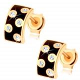 Cercei din aur galben 9K - semicerc larg cu vopsea neagră, zirconii transparente