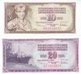 Bancnota Iugoslavia 10 si 20 Dinari 1978 - P87/88 UNC ( set x2 )