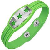 Brățară verde din cauciuc, stele pe placă, cheie grecească