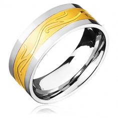 Inel din oțel - auriu și argintiu cu valuri - Marime inel: 67