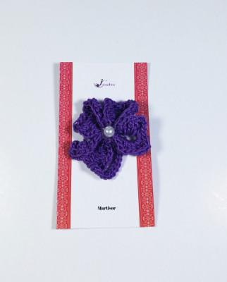Martisor Brosa, Crosetat Manual, Trifoi, Mov, 4 cm foto