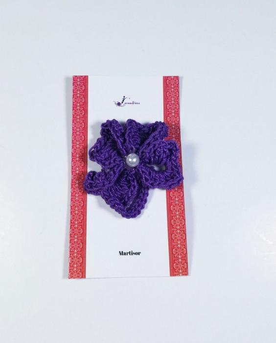 Martisor Brosa, Crosetat Manual, Trifoi, Mov, 4 cm