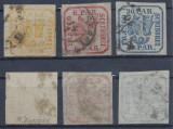 ROMANIA 1862 Principatele Unite serie completa stampilata 3, 6, 30 parale 1650 L