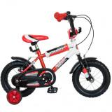Bicicleta Copii 12 Inch Bimbo, Bonanza, G1201B/2, Cadru Otel, Roti Ajutatoare, Varsta 2-4 Ani, Rosu/Alb