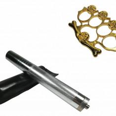 Set baston telescopic din otel argintiu 64 cm box rozeta craniu auriu