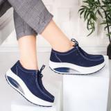 Pantofi Piele dama casual albastri Bunazi