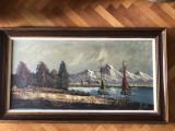 """Tablou,pictura in ulei pe panza,""""Fiord in Norvegia"""",semnat, Portrete, Altul"""