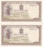 ROMANIA 2 X 500 LEI IULIE 1941 XF+ CONSECUTIVE