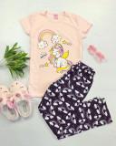 Cumpara ieftin Pijama dama ieftina bumbac lunga cu pantaloni lungi bleumarin si tricou roz cu imprimeu Unicorn Music