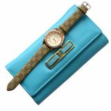 Cumpara ieftin Pachet portofel elegant de dama - turcoaz + ceas elegant de dama Lost Queen