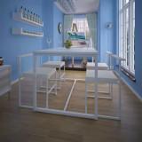 VidaXL Set masă și scaune de bucătărie, 5 piese, alb