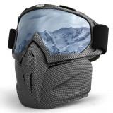 Masca protectie fata, plastic dur + ochelari ski, lentila argintie, MCMFA01