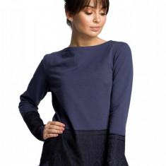 Bluza moderna, bleumarin cu dantela, 2XL, L, M, S, XL