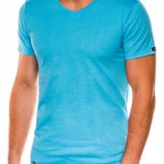 Tricou slim fit barbati S1041 - turcoaz