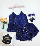Pijama dama ieftina primavara-vara bleumarin din satin lucios cu imprimeu stelute