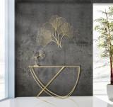 Consola din metal si sticla Ring Negru / Auriu, l120xA40xH79 cm