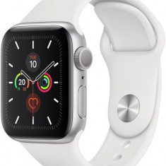 Smartwatch Apple Watch 5, LTPO OLED Capacitive touchscreen 1.78inch, Bluetooth, Wi-Fi, Bratara Silicon 40mm, Carcasa Aluminiu, Rezistent la apa si pra