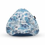 Cumpara ieftin Fotoliu Units Puf (Bean Bag) tip para, impermeabil, cu maner, 80 x 90 x 68 cm, frunze albastre