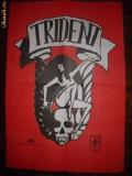 Afis formatia rock TRIDENT, Hungary, cu 4 autografe pe el