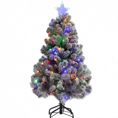 Cumpara ieftin Brad de Craciun artificial cu LED-uri colorate si zapada artificiala, 120 cm