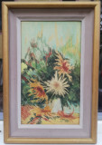 Tablou Nicolae Ciochina Pastel Natura statica Flori 3 Crizanteme 53x36cm, Realism