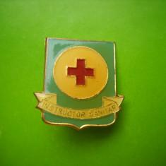 HOPCT ROMANIA INSIGNA CRUCEA ROSIE INSTRUCTOR SANITAR   [ 1 ]
