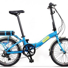 Bicicleta Electrica Pegas Camping Dinamic 7S, Pliabila, Roti 20inch, 7 Viteze, Autonomie 40 Km, Motor 220 W (Albastru)