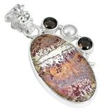 Cumpara ieftin Pandantiv bijuterie din argint 925 cu opal dentritic si perla