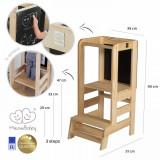 Inaltator multifunctional ajutor de bucatarie cu tabla de scris MeowBaby lemn natural