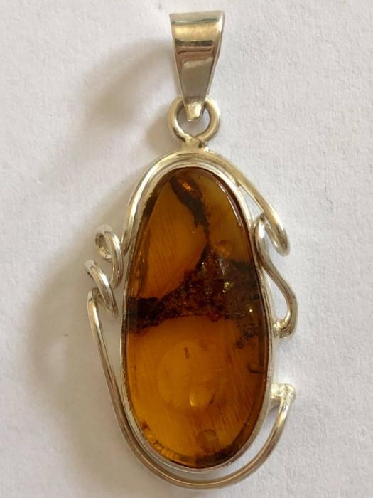 Argint PANDANTIV   CU CHIHLIMBAR MODEL CLASIC