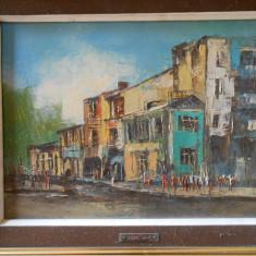Tablou Andrei Damo, citadina Bucuresti, ulei/panza, 35x25 cm, inramat, deosebit