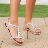 Sandale dama cu talpa joasa argintii Dolorisa