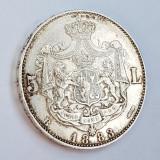 5 Lei 1883 Dreptunghi la coroana , varianta mai rara , Carol I , ( patrat la c.