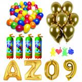 Cumpara ieftin Pachet 20 baloane numere / cifre la alegere, 4 butelii heliu, 100 baloane 26cm metalizate si 50 baloane 33cm chromate
