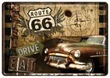 Placa metalica - Route 66 - Motel - 10x14 cm