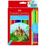 Creioane colorate 36 culori Faber Castell + ascutitoare, 3 creioane bicolore si 1 creion grafit 110336