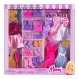 Set garderoba papusi Muncy, 6 rochii, accesorii incluse