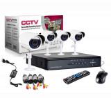Kit Supraveghere Cctv Sistem Dvr 4 Camere Exterior Internet Cabluri, Oem