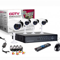 Kit Supraveghere Cctv Sistem Dvr 4 Camere Exterior Internet Cabluri