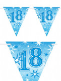 Banner stegulete pentru majorat - 2 m, Happy Birthday 18 ani, Qualatex 45587