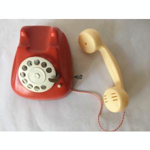 Telefon Metaloglobus jucarie romaneasca veche anii 80, rosu cu cheita, impecabil